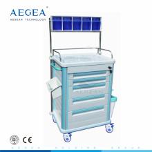 AG-AT005B1 ABS Material Kunststoff Schublade mit Rädern medizinischen Anästhesie Wagen