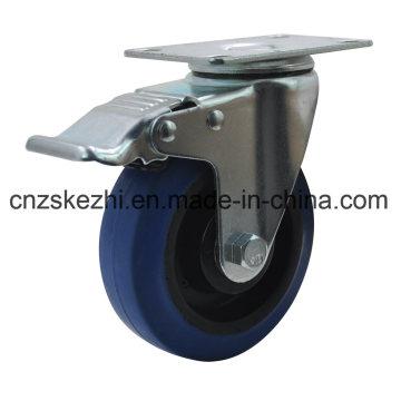 Blue Rubber Caster Wheel