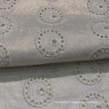 Tecido bordado branco Tecido bordado de algodão com furo