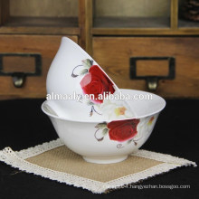 white flower design Ceramic soup bowl