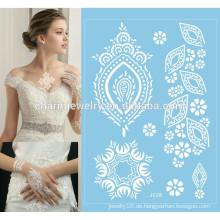 Frauen weiße Tinte Henna Spitze Sommerart Strandspitze Tätowierung für Hochzeit j028