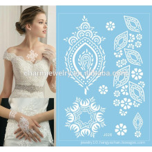 Women White Ink Henna Lace summer style beach lace tattoo for wedding j028