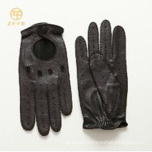 Men top grade fashion black color deerskin motorbike leather gloves
