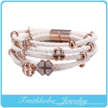 Nuevo diseño de oro rosa, diamante de alta imitación, trébol de cuatro hojas, pulsera de cuero de cuerda.
