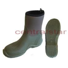 Botas de goma de media pantorrilla verde de moda (RB012)