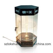 Supports d'affichage à LED acryliques style hexagonal, boîtier d'affichage POS avec LED