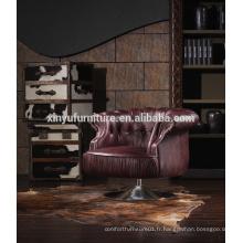 Chaise française classique en cuir véritable classique A609