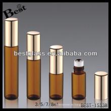 3ml / 5ml / 7ml / 8ml bernsteinfarbene Rolle auf Parfümflasche, Tuben-Parfümflasche mit schwarzem Sprayer, Opium-Parfum