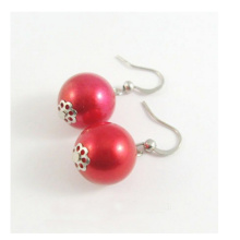 Bridal Red Pearl Earrings