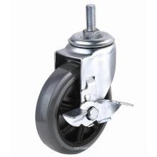 EG01 Threaded Stem PU Caster With Side Brake(Gray)