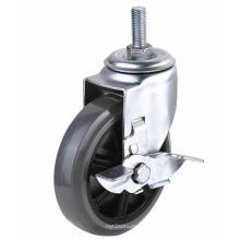 EG01 Threaded Stem PU Caster com travão lateral (cinza)