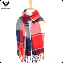 Модные акриловые многоцветный большой плед шарф платок с бахромой