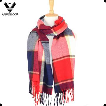 Xaile grande multicolorido acrílico na moda do lenço da manta com franjas