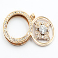Hot Sale Magnet 316L Stainless Steel Locket Pendant with Clear Stones