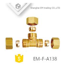 Encaixe de tubulação de bronze de rosca macho EM-F-A138 de 3 vias com duplo conector rápido