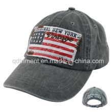 Lavado de pigmento teñido de impresión Applique Bordado Gorra de béisbol (TMB0730)