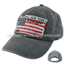 Washed Pigment Dyed Print Applique Embroidery Baseball Cap (TMB0730)