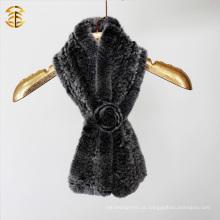 Rex Coelho Malha de malha lenço cachecol de pele de inverno lenço de malha de mão