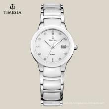 Reloj de pulsera de cuarzo de cerámica blanco para damas 71075