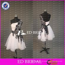 ED Bridal Elegant One Shoulder White Organza Lace Appliqued Beaded Sash Organza Short Prom Dresses 2017
