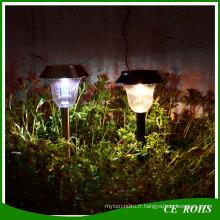 Lumière solaire extérieure extérieure en acier inoxydable LED silicium amorphe Rechargebale Lumière solaire voie blanche / chaude jardin blanc paysage pelouse solaire