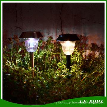 Luz Solar Ao Ar Livre de Aço Inoxidável LED Rechargebale Silício Amorfo Caminho Solar Luz Branca / Quente Paisagem Branca Jardim Luz Solar Gramado