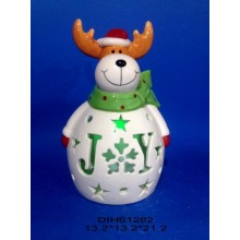 Color-Changing LED Lighted Ceramic Reindeer