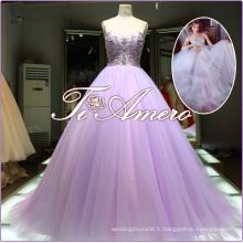 Royal Modern Luxury Beaded Sequins Big Ball Gown Sexy A-Line Robe de mariée en train et train à rayures en longueur 2016