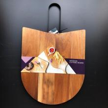 Acacia wood cooking board with metal handle