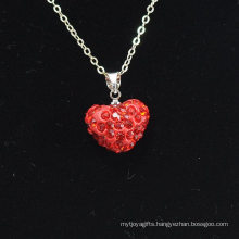 wholesale Shamballa Necklace Wholesale Heart Shape New Arrival Red Crystal Clay Shamballa With Silver Chains Necklace