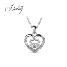 Cute Small Heart Charm Pendant Necklace with Premium Austria Crystal