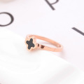 Keluli tahan karat Empat Leaf Clover Ring Band Womens