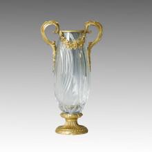 Vaso de cristal estátua dupla alças escultura de bronze Tpgp-002 (J)