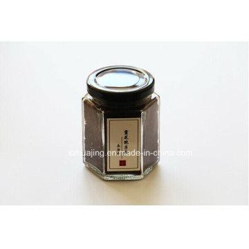 100ml Honey Hexagon Glass Mason Jar with Black Metal Cap
