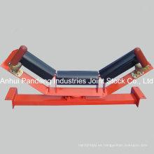 Patente de 3 rollos de empuje tipo rodillo Polea de centrado superior Set para correa transportadora