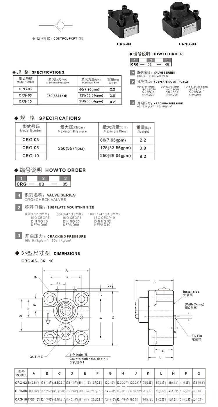 Yuken Hydraulic Right Angle Check Valves