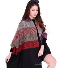 2017 recién llegado de invierno largo a cuadros 7 color de costura mujeres falsas cachemira bufanda poncho para mujeres con borla