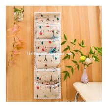 Fashion hanging wall pocket storage organizer 100% cotton wall organizer 6 pockets