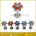 Stainless Steel Internally Threaded Flower Zircon Lip Labret Piercing