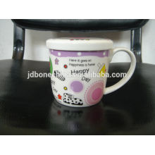 A grade office home travel fine royal bone china ceramic coffee mugs with lid wholesale