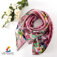 Las bufandas de seda de la manera de la manera de las mujeres cuadran el bandana al por mayor, bufanda musulmán del hijab