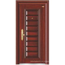 Puerta de seguridad de acero con diseño profundo en relieve en color nogal