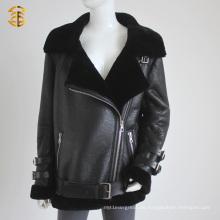Neue Marke echte Schaf-Pelz-Jacke für Dame Posh Art-Lamm-Haut-Pelz-Mantel