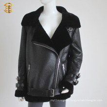 New Brand Genuine Sheep Fur Jacket For Lady Posh Style Lamb Skin Fur Coat