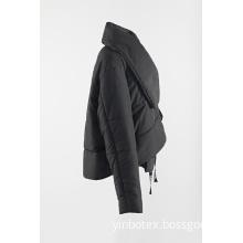 short black padding coat with big collar