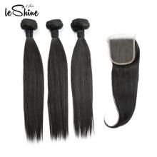 LIVRAISON GRATUITE Extensions Humaines Péruviennes Vierges Double Dessiné Armure 10a Grade Cheveux Ensembles avec Fermeture