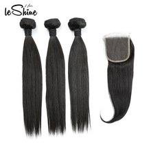 FREE SHIPPING Double Drawn Virgin Peruvian Human Extensions Weave 10a Grade Hair Bundles With Closure