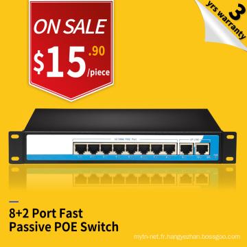 Commutateur poe 24v passif de sortie de 100M 8 ports économiques avec 2 ports Ethernet de liaison montante