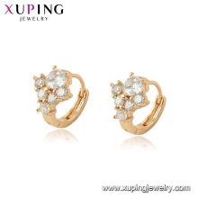 96983 xuping latest hot sale white crystal stone hoop earring for ladies