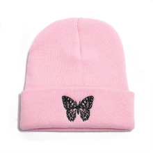 Autumn Winter New Style Butterfly Print Knitted Cap Sets Head Cap to Keep Warm Wool Cap